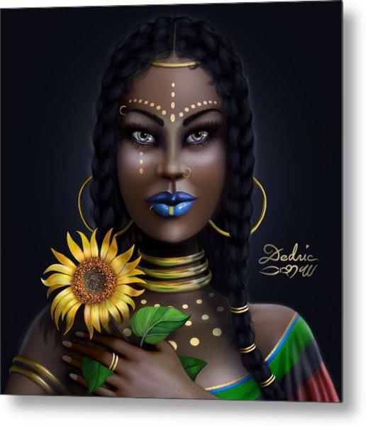 Metal Print featuring the digital art Sunflower Goddess  by Dedric Artlove W
