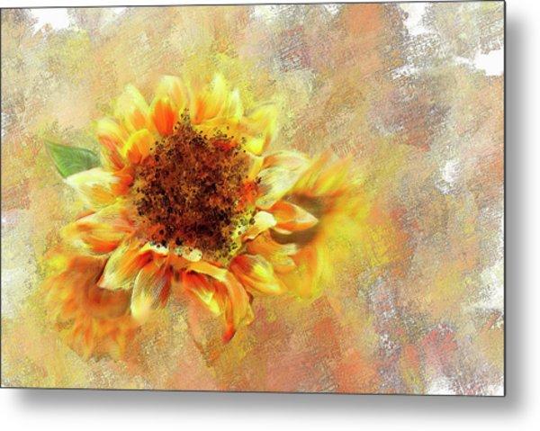 Sunflower On Fire Metal Print