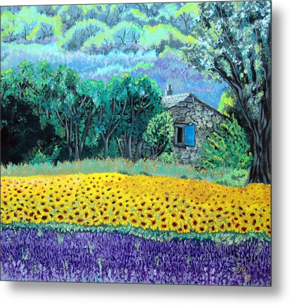 Sunflowers And Lavender Metal Print