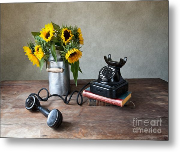 Sunflowers And Phone Metal Print
