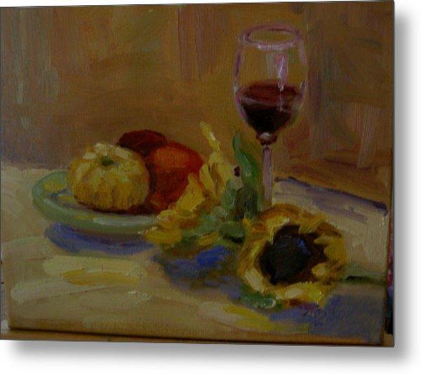 Sunflowers And Wine Metal Print