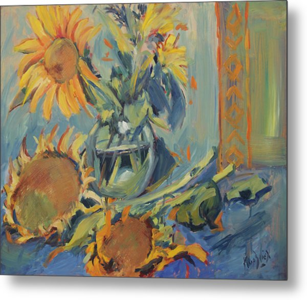 Sunflowers Fresh And Dried With Vase Metal Print