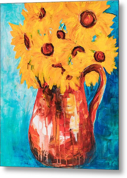 Sunflowers In A Pitcher Metal Print