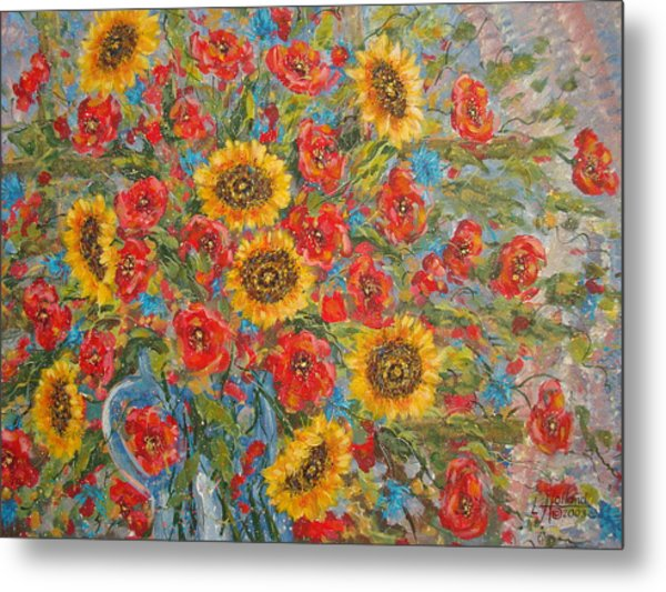 Sunflowers In Blue Pitcher. Metal Print