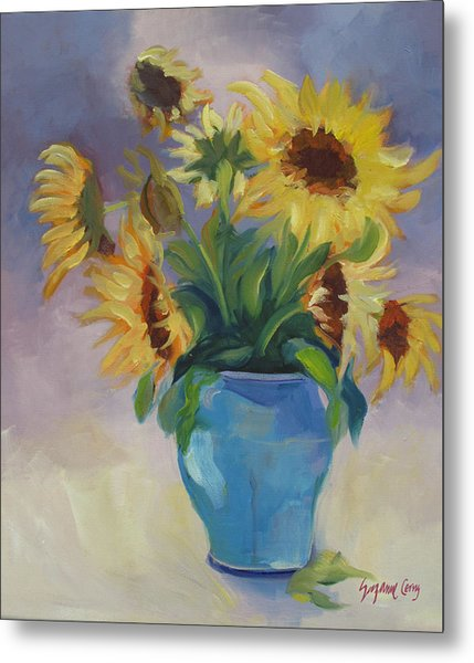 Sunflowers In Blue Vase Metal Print