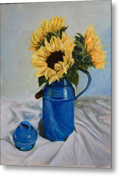 Sunflowers In Milkcan Metal Print