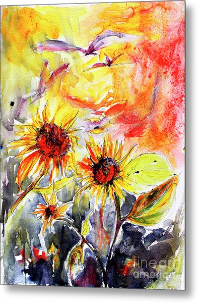 Sunflowers In Summer Garden Modern Watercolor And Ink Metal Print