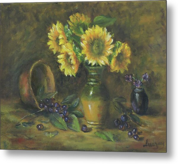 Metal Print featuring the painting Sunflowers by Katalin Luczay