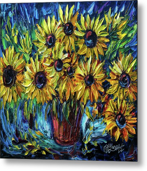 Sunflowers  Palette Knife Metal Print
