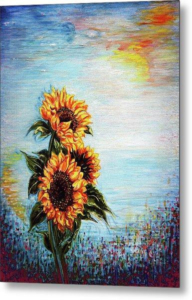 Sunflowers - Where Ocean Meets The Sky Metal Print