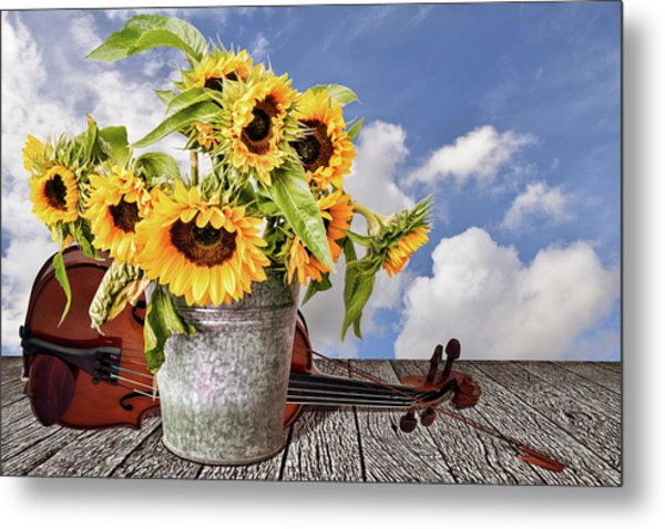 Sunflowers With Violin Metal Print