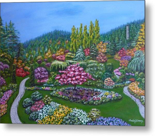 Metal Print featuring the painting Sunken Garden by Amelie Simmons