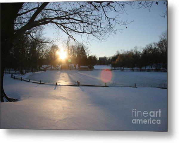 Sunlight On A Frozen Pond  Metal Print