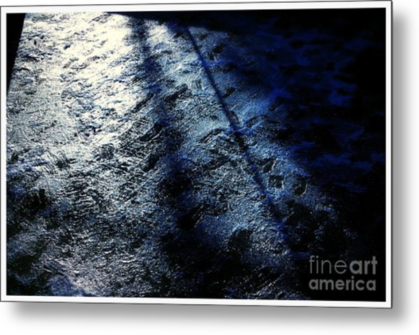 Sunlight Shadows On Ice - Abstract Metal Print