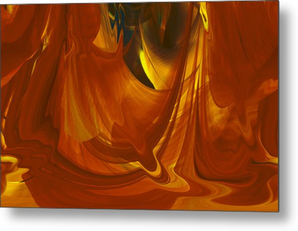 Metal Print featuring the digital art Sunlit Red Cavern Abstract by rd Erickson
