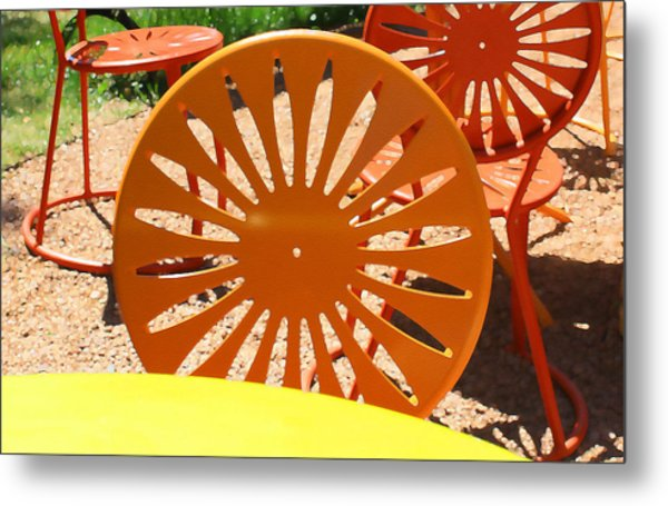 Sunny Chairs 4 Metal Print by Geoff Strehlow