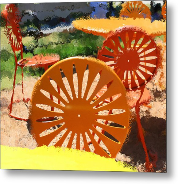 Sunny Chairs 5 Metal Print by Geoff Strehlow