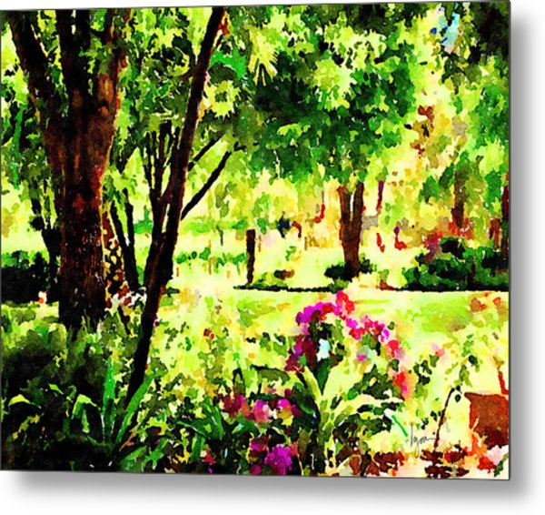 Metal Print featuring the painting Sunny Hangout by Angela Treat Lyon