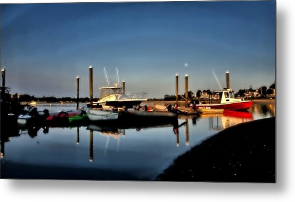 Sunny Morning At Onset Pier Metal Print