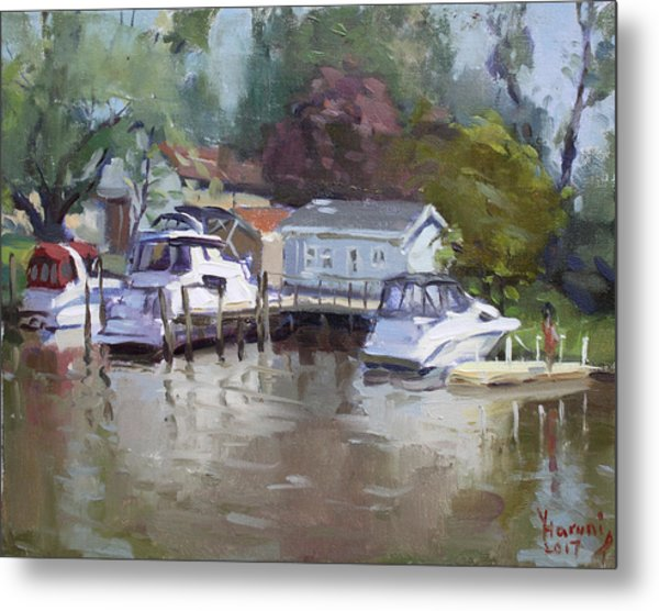 Sunny Sunday At The Canal Metal Print