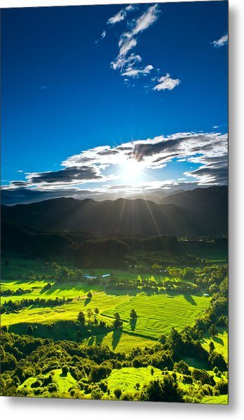 Sunrays Flood Farmland During Sunset Metal Print