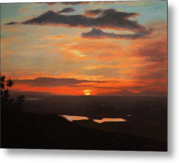 Sunrise Above Boulder Metal Print