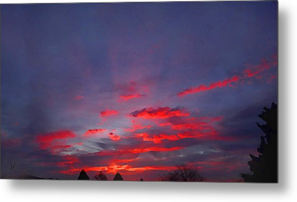 Sunrise Abstract, Red Oklahoma Morning Metal Print