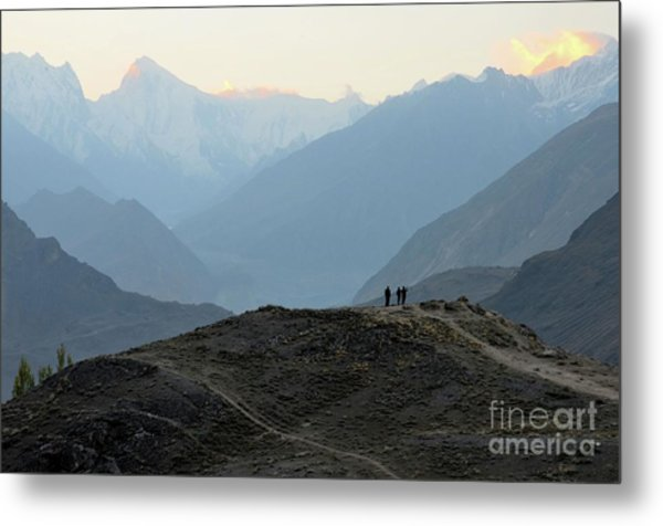 Sunrise Among The Karakoram Mountains In Hunza Valley Pakistan Metal Print