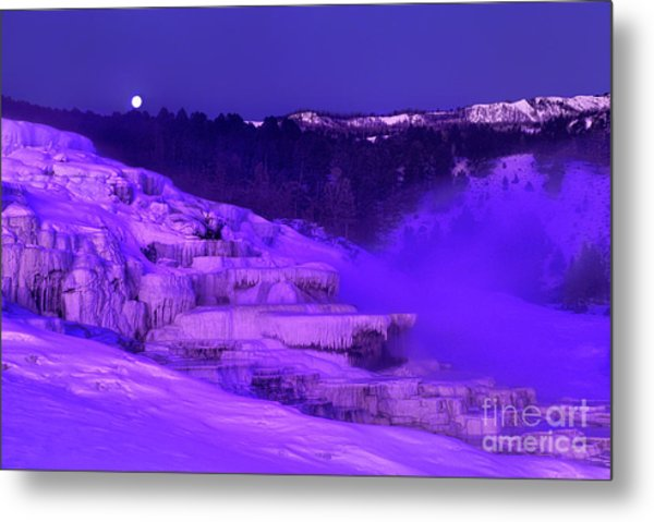 Metal Print featuring the photograph Sunrise And Moonset Over Minerva Springs Yellowstone National Park by Dave Welling