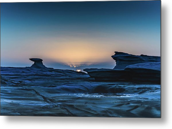 Sunrise And Rock Platform Landscape Metal Print