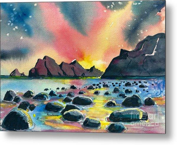 Sunrise And Water Metal Print