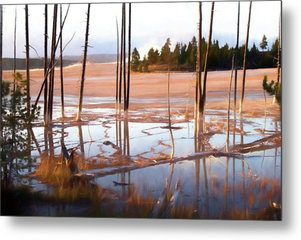 Sunrise At Fountain Paint Pots, Yellowstone National Park, Usa Metal Print