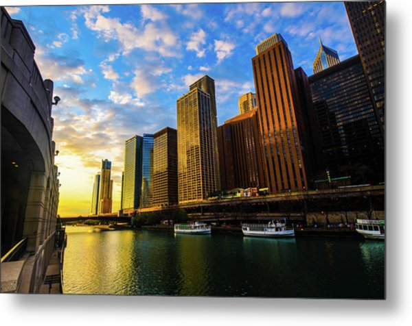 Sunrise At Navy Pier Metal Print