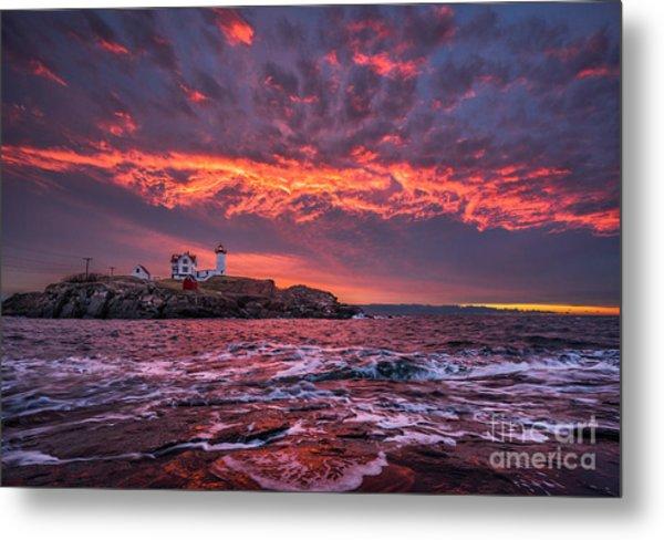 Sunrise At Nubble Lighthouse Metal Print