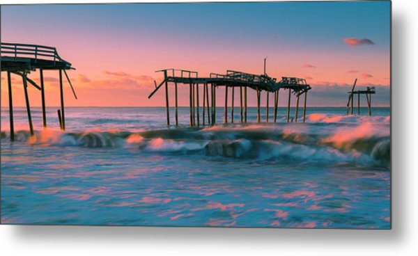 Metal Print featuring the photograph Sunrise At Outer Banks Fishing Pier In North Carolina Panorama by Ranjay Mitra
