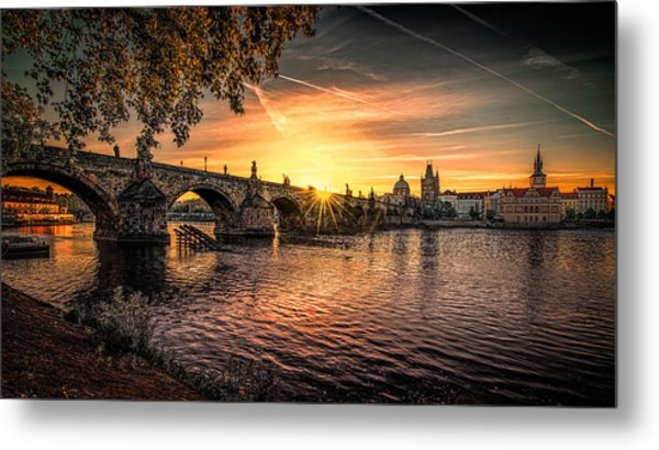 Sunrise At The Charles Bridge Metal Print