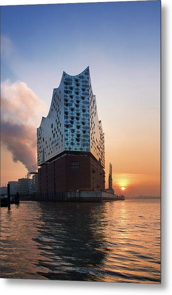 Metal Print featuring the photograph Sunrise At The Elbe Philharmonic Hall by Marc Huebner