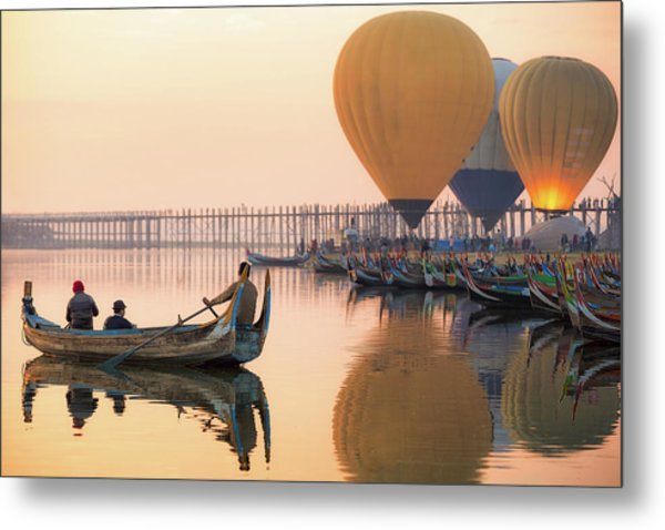 Sunrise At U Bein Bridge  Metal Print by Anek Suwannaphoom