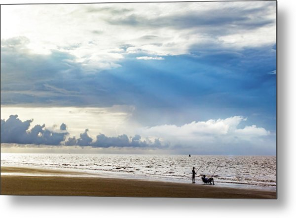 Sunrise Beach Fishing Metal Print