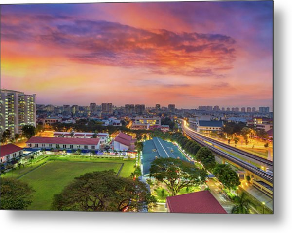 Sunrise By Mrt Station In Eunos Singapore Metal Print