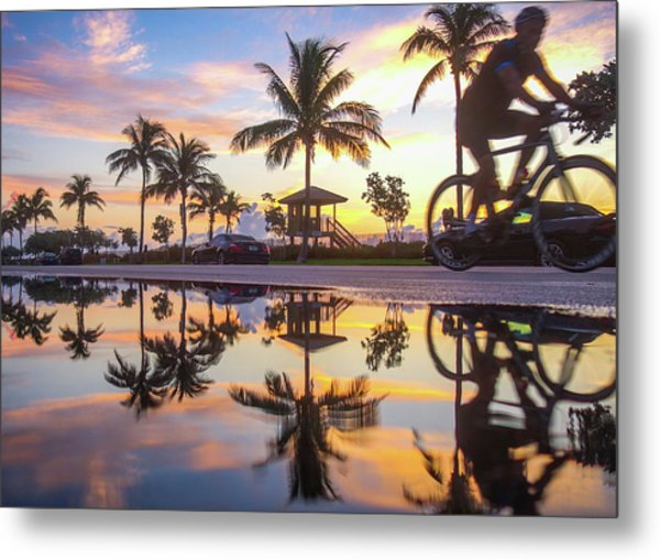 Sunrise Cyclist Delray Beach Florida Metal Print