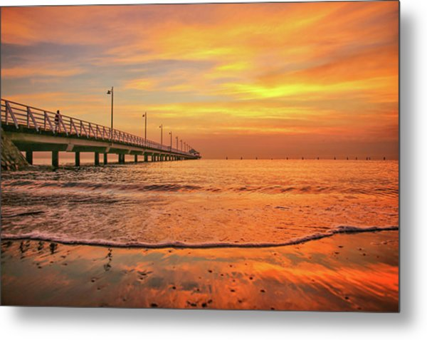 Sunrise Delight On The Beach At Shorncliffe Metal Print