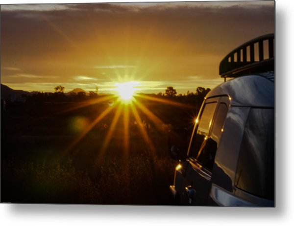 Sunrise And My Ride Metal Print