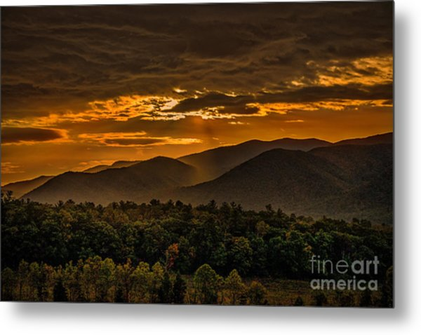 Sunrise In Cades Cove Great Smoky Mountains Tennessee Metal Print
