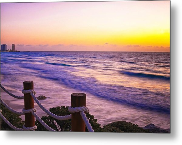 Sunrise In Cancun Metal Print