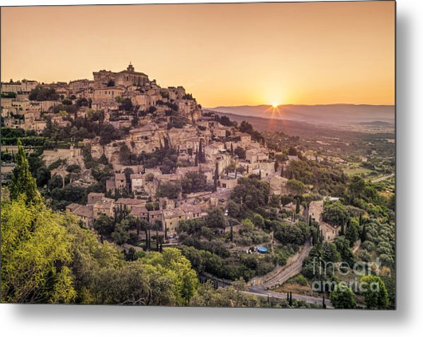 Metal Print featuring the photograph Sunrise In Gordes Provence  by Juergen Held