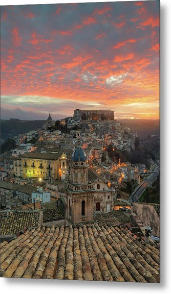 Sunrise In Ragusa Ibla Metal Print