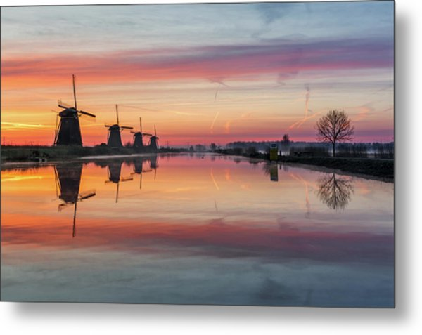 Sunrise Kinderdijk Metal Print
