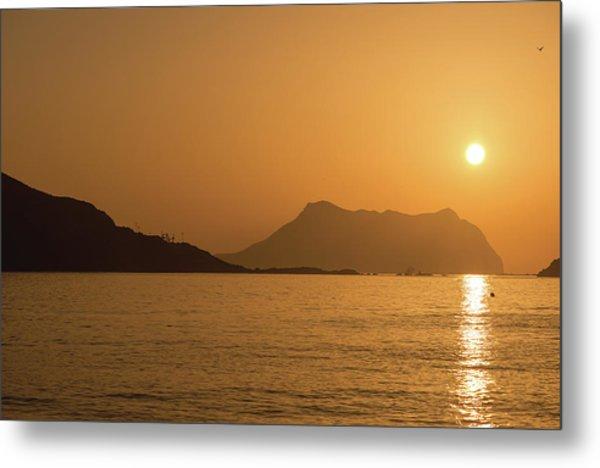 Sunrise On A Beach In Aguilas, Murcia Metal Print