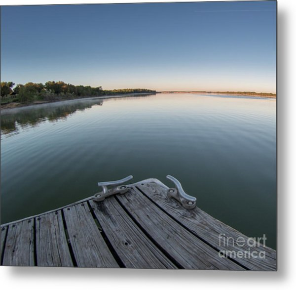 Sunrise On A Clear Morning Over Large Lake With Fog On Top, From Metal Print
